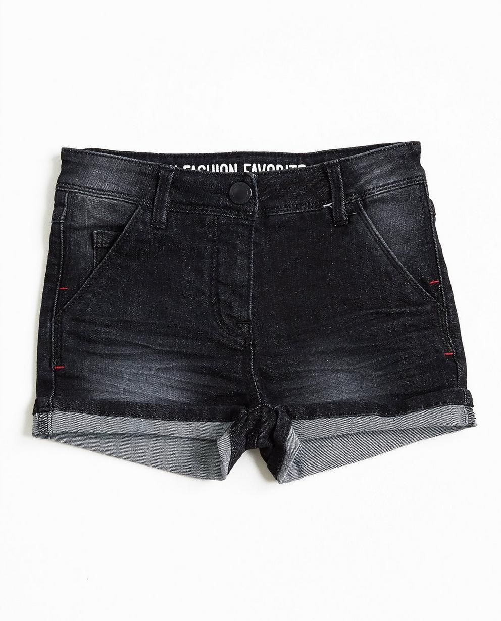 Short en jeans noir - délavé, revers aux jambes - Groggy